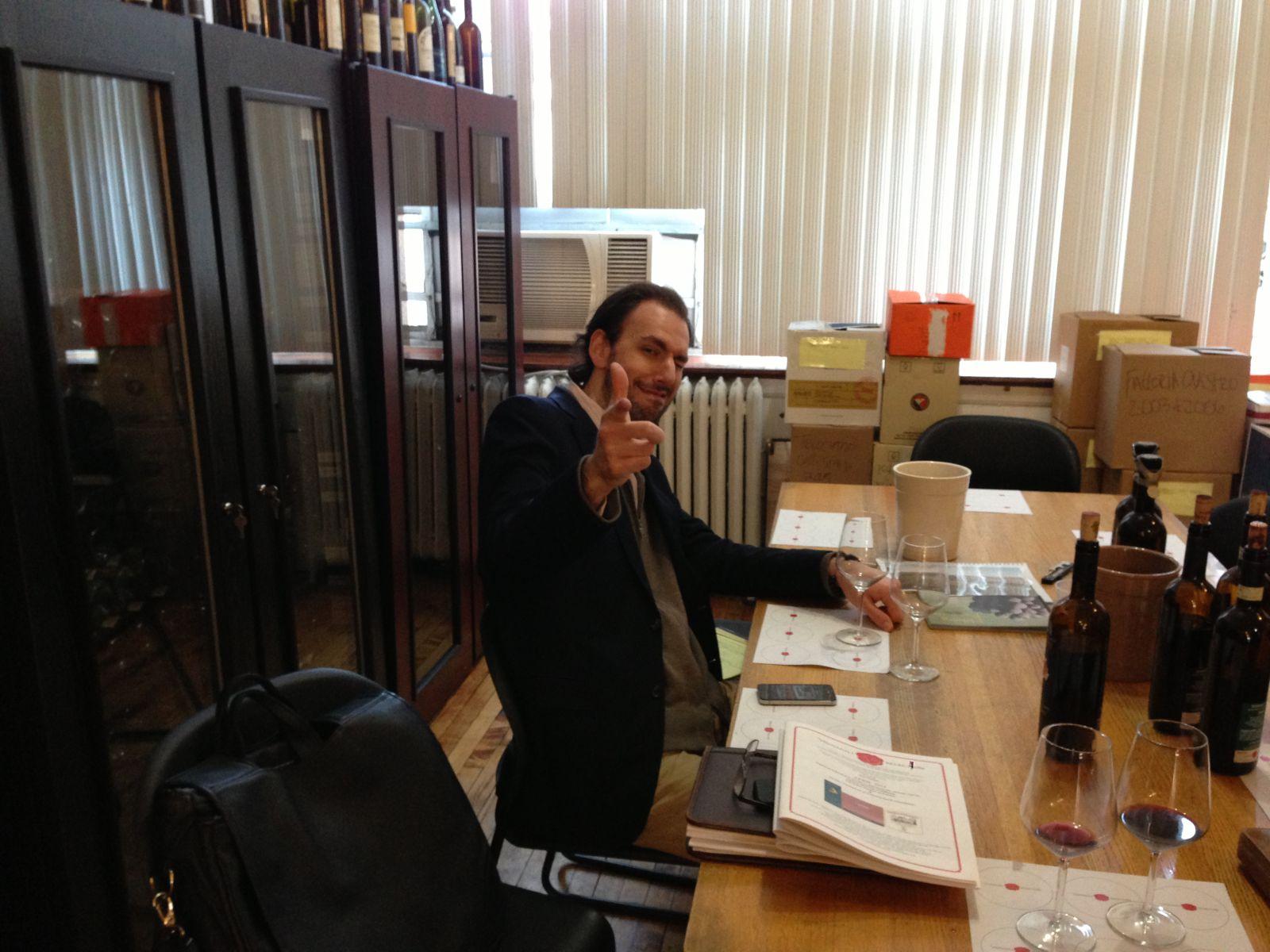 Levi Dalton at Vignaioli office to interview Annette