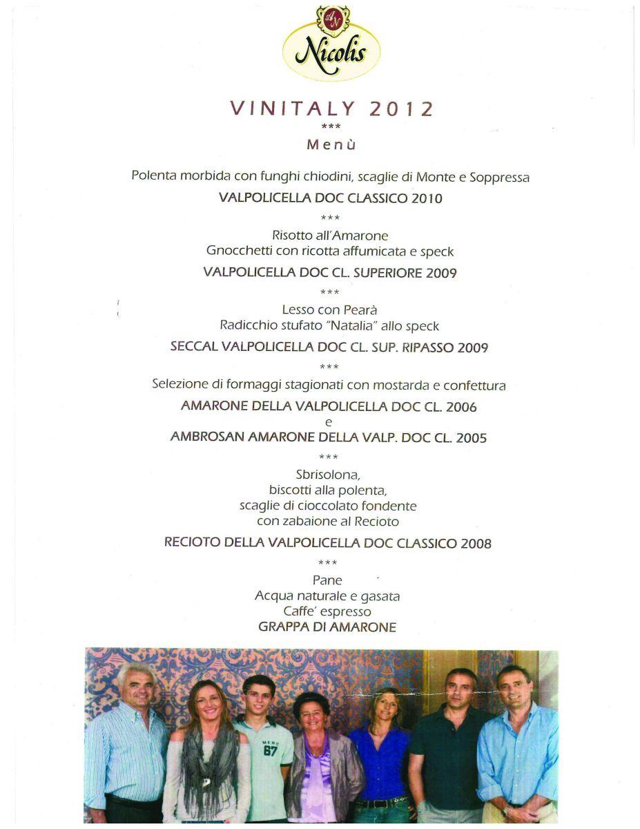 Nicolis dinner vinitaly 2012