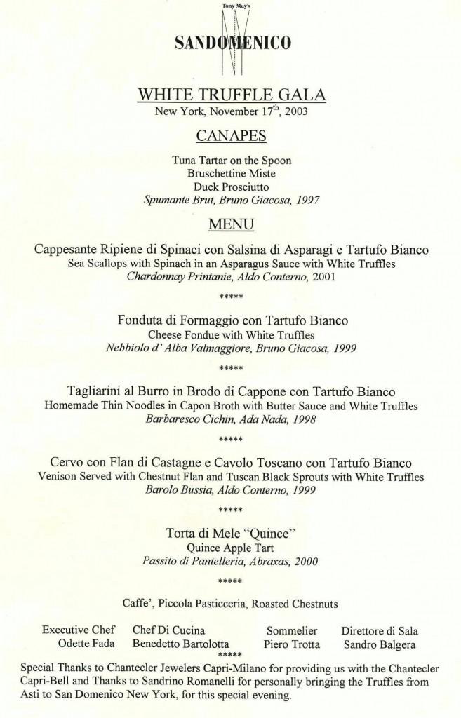 San Domenico menu